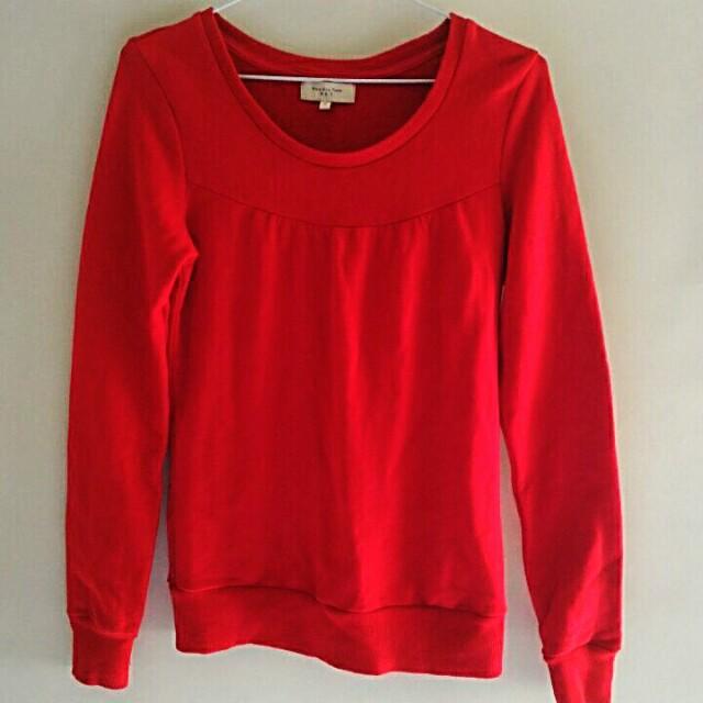 紅色/辣椒紅NET厚棉質上衣