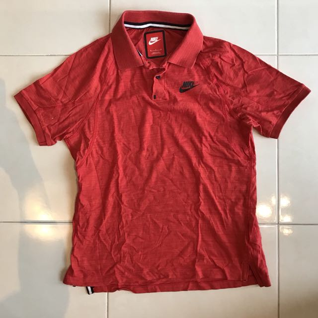 Nike red dry fit polo tee