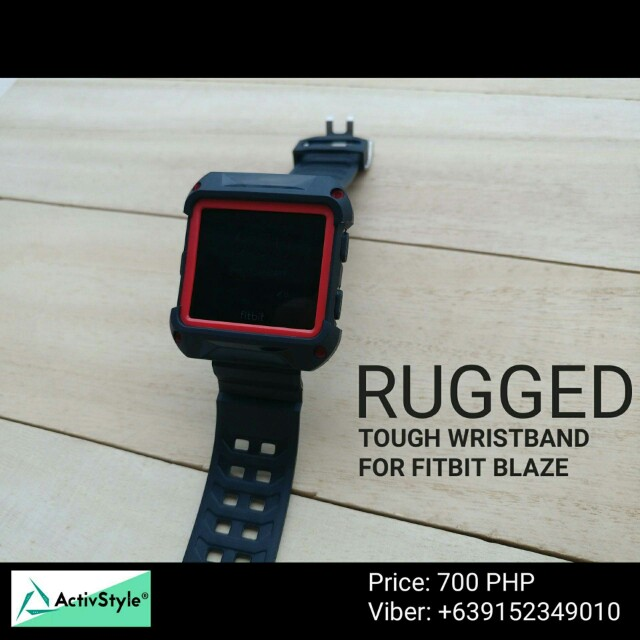 No activity is tougher than this strap for the #fitbit Blaze. Made of tough rubber with melded frame and strap, it can endure the most rigorous crossfit routine available.  Colors: 1. black-black 2. Black-red One size only approximately 25cm length