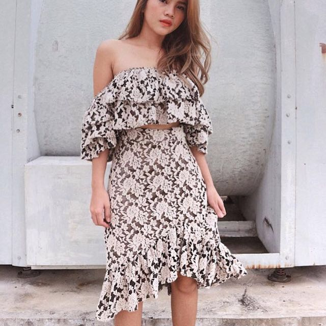 Olivia lace terno off shoulder sexy dress