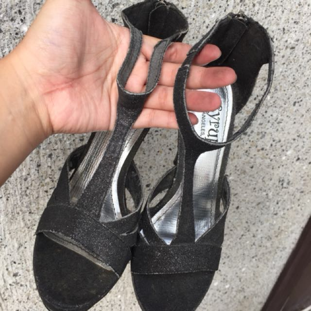 People are People Syrup Black Glitter Heels