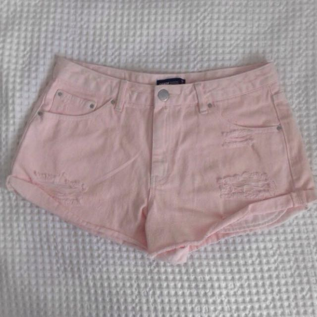 Pink Denim Shorts - GLASSONS
