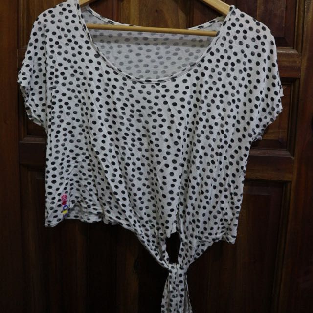 Polka crop with ribbon
