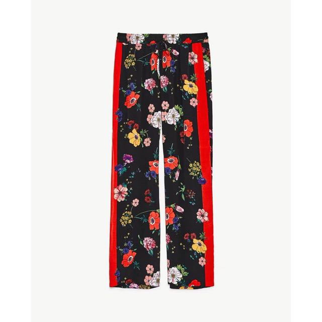 Ready Stock Zara Inspired Floral With Red Stripe Pants