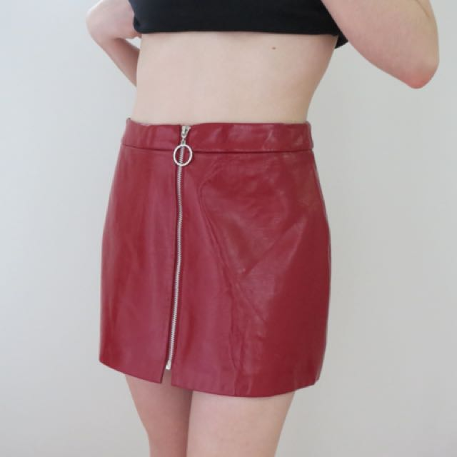 red patent mini skirt with ring zip