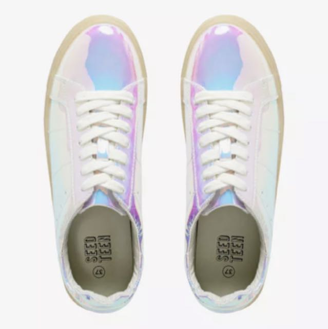 SEED HERITAGE IRIDESCENT SHINY TRAINER SNEAKERS CASUAL SHOES FESTIVAL RAINBOW