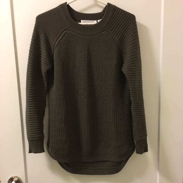 Seven Sisters Olive Moto sleeve sweater