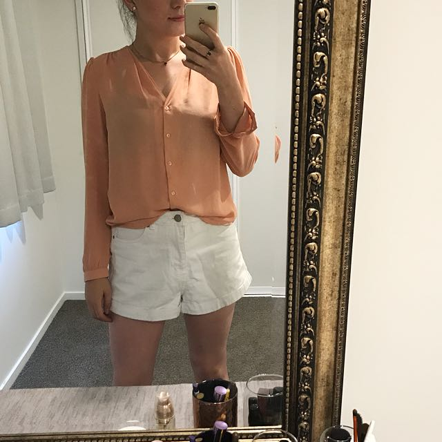 Sheer Salmon Blouse