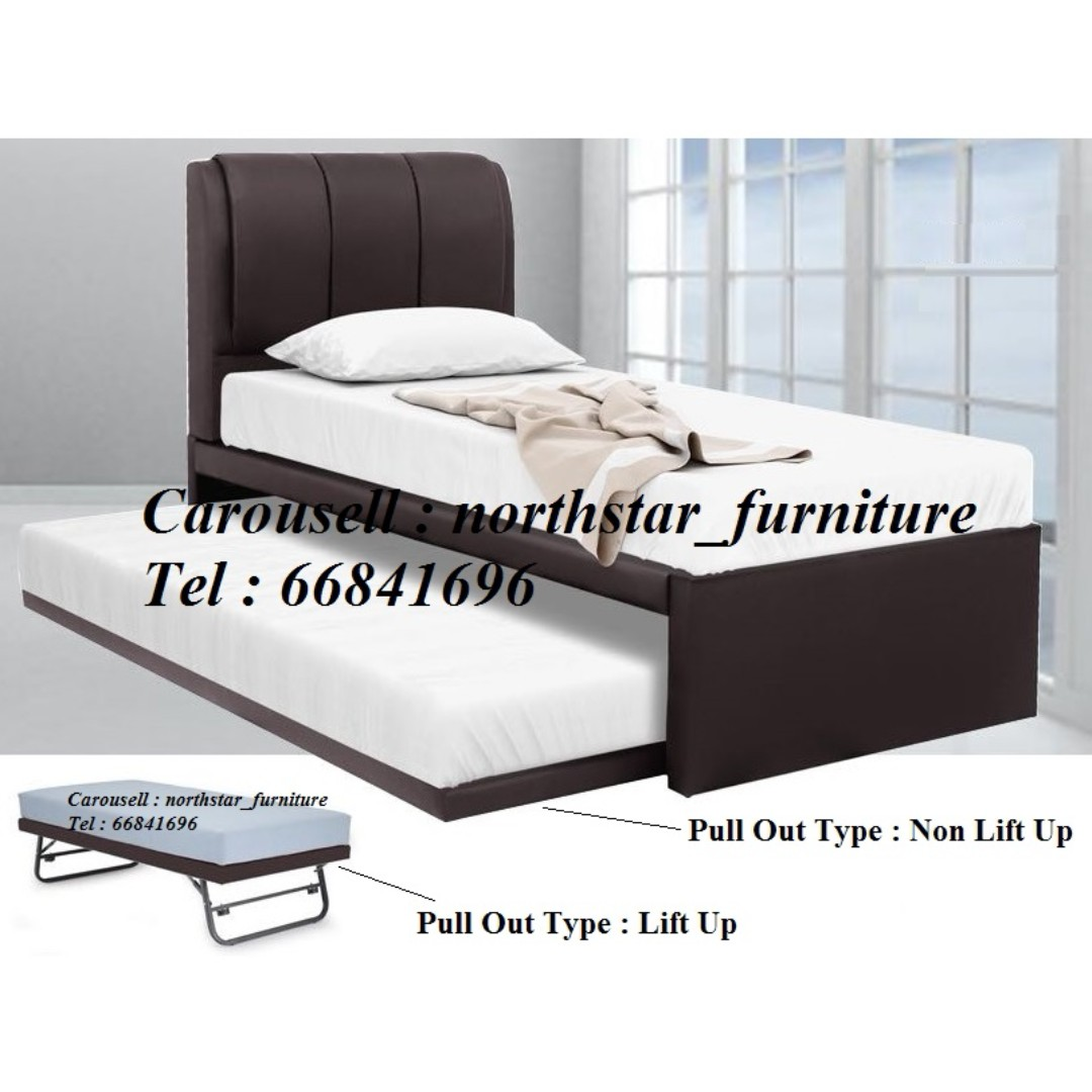 Single Bedframe + Pull Out Bed, Furniture, Beds & Mattresses on ...
