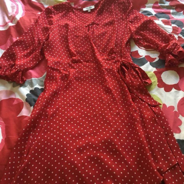 Size 12 miss shop cross over dress polka dots