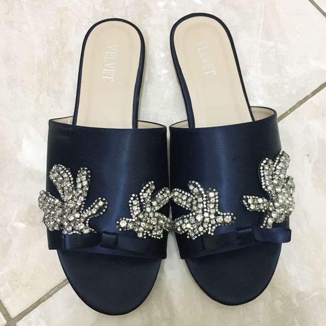 Slip On Swarovski Sandal