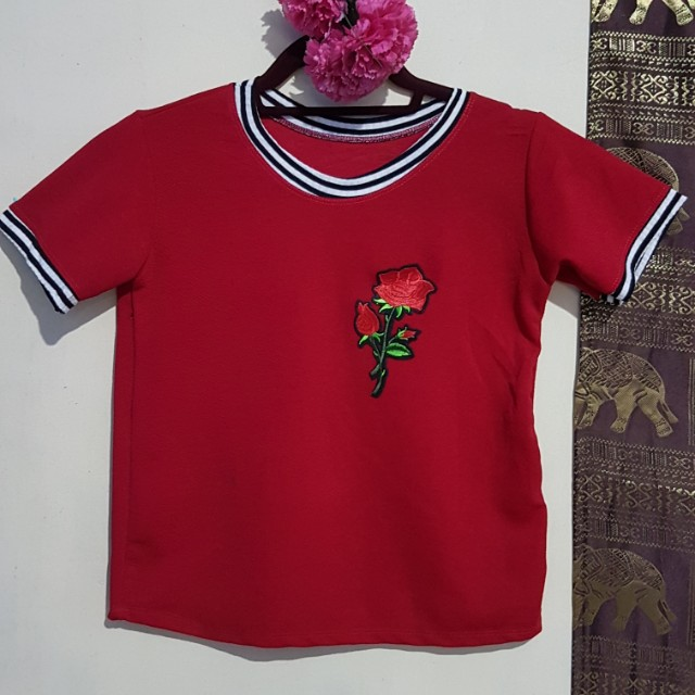 Tees with floral patch