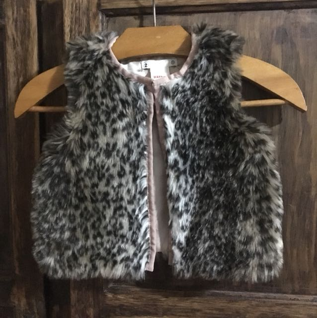 Toddler leopard faux fur vest