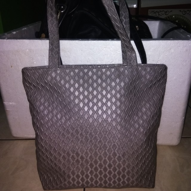 tote bag silver grey kulit