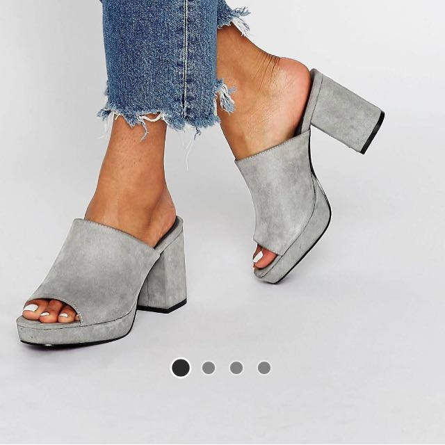 Truffle platform mules in grey