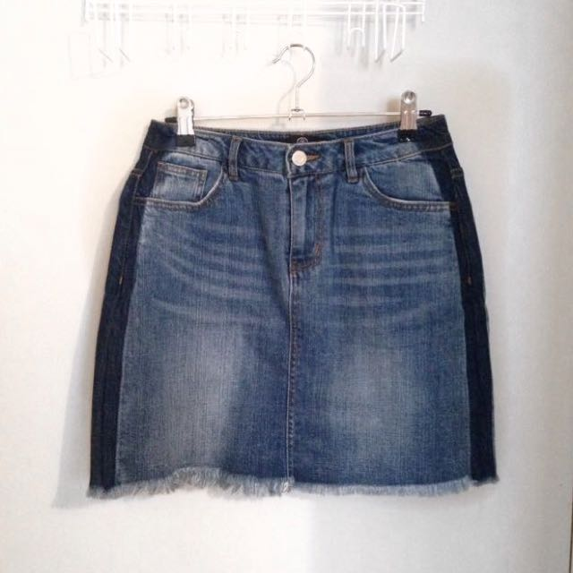 Two Tone Denim Skirt - MISSGUIDED