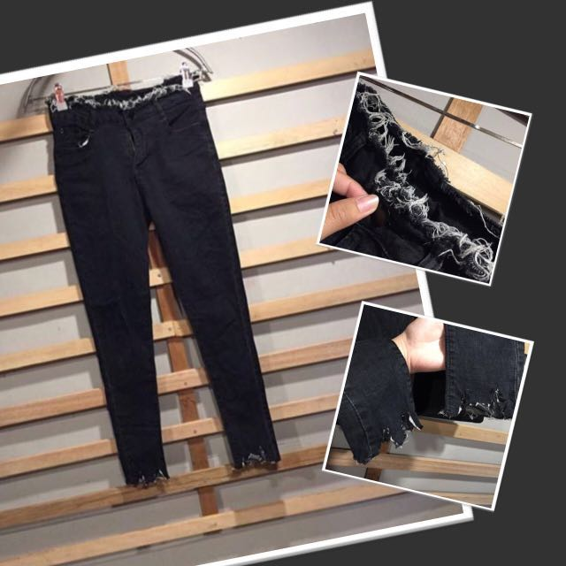 Unfinish Ripped Jeans (Black)