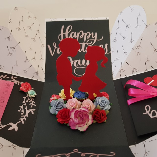 Valentine S Day Explosion Box Card Design Craft Art Prints On