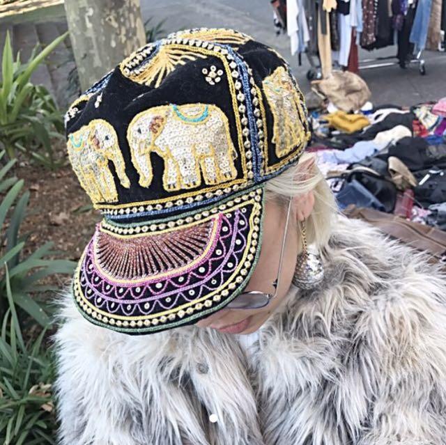 Vintage sequins embroidered hat