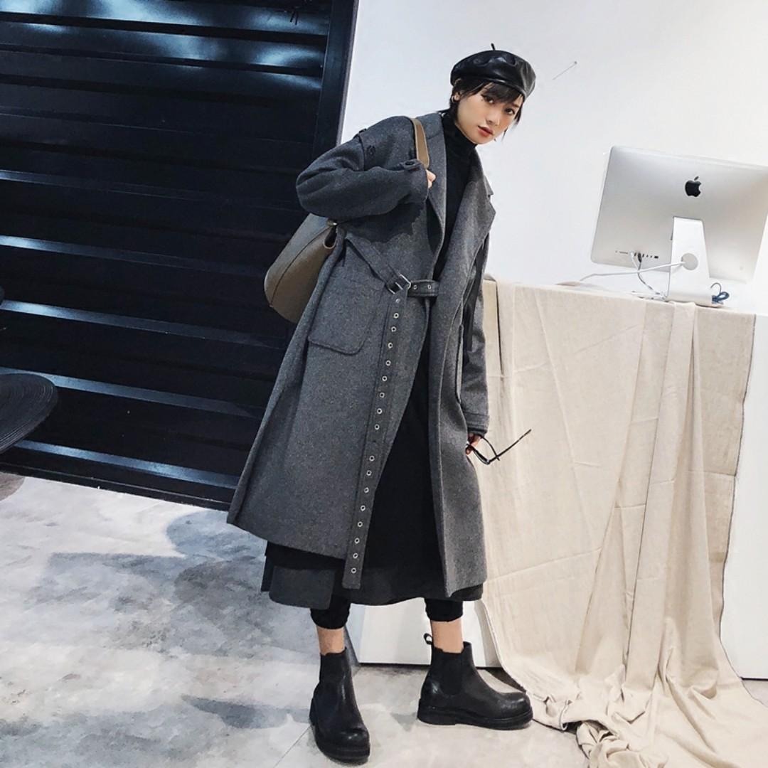 VM 韓版 個性百搭冬季環扣設計拉鍊帶 寬鬆羊毛雙面順毛呢大衣 兩色