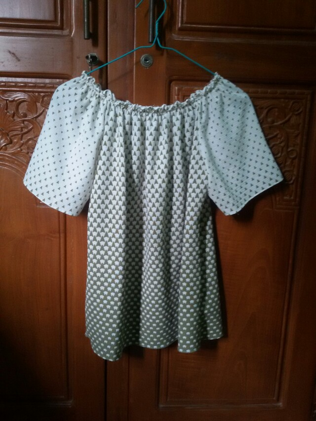 White and Green Blouse