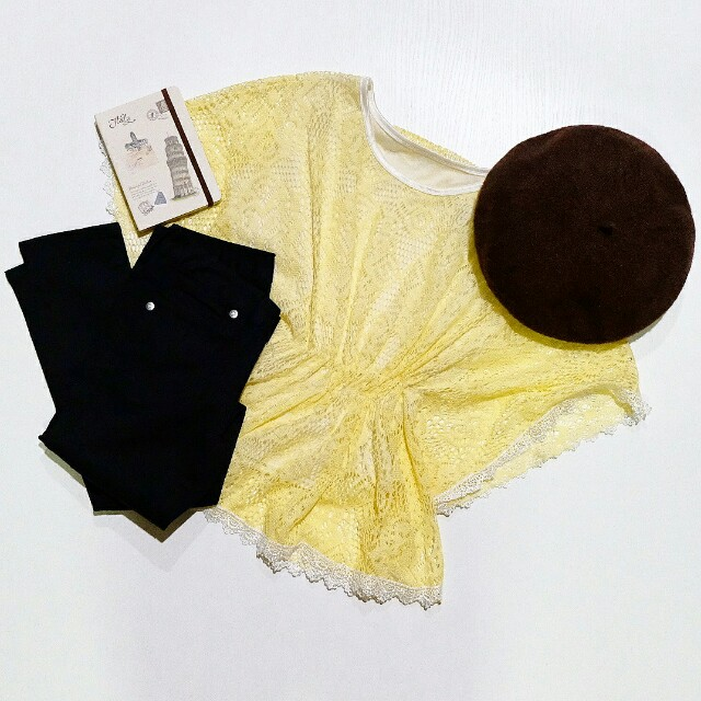 Yellow lace oversize loose batwing blouse top