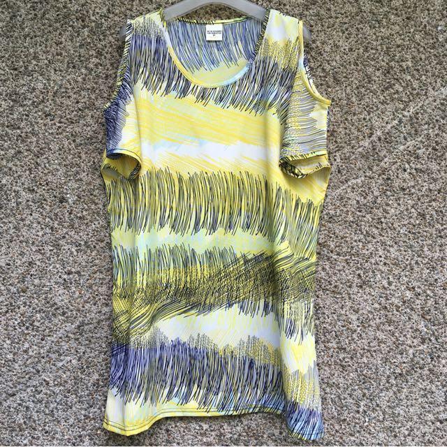 Yellow Pattern Cold Shoulder Short Dress