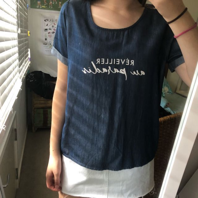 ZARA denim blue top