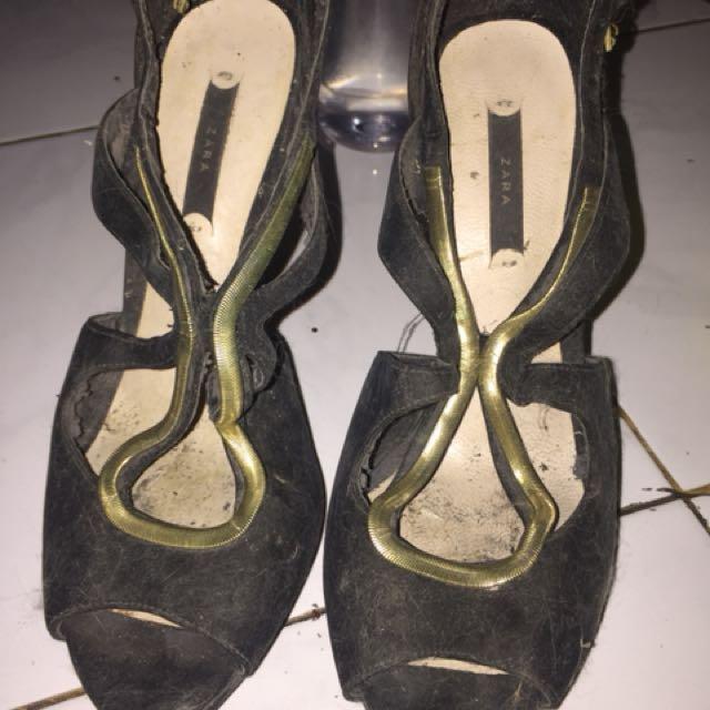 Zara high heels suede