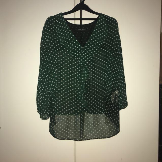 Zara Polkadot green blouse