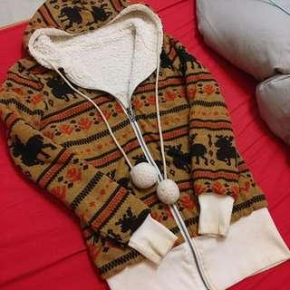 麋鹿毛毛球球雙面穿長版外套