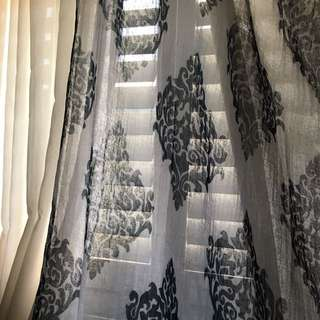 Sheer navy/white damask curtain panels