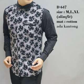 Batik, Kemeja slimfit pria,Baju batik cowok Lengan panjang D 647.