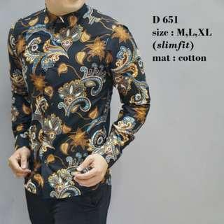 Batik, Kemeja slimfit pria,Baju batik cowok Lengan panjang D 651.