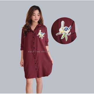 Maroon patch dress
