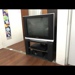 Samsung TV with home theater system and TV rack