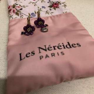 Les Néréides Paris , purple flower Earrings