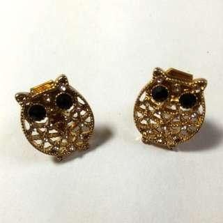 耳夾式 貓頭鷹耳環