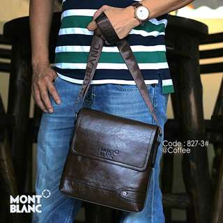 Sling Bag MONTBLANC 827-3#p  Size : 22x5x23cm Quality : Semprem Material : Leather Ready 3 colours : - Black - Brown - Coffee Bisa muat iPad dll Berat : 0,5 kg   H 120rb