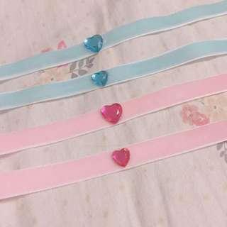🚚 日本原宿系💘愛心鑽絨布頸鏈
