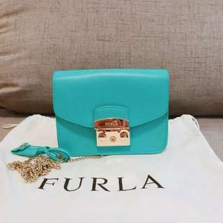 100%Real Furla crossbody Bag Tiffany blue 90% new