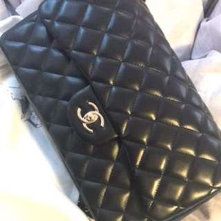 Authentic Chanel Classic Flap Lambskin Jumbo.