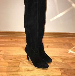 Knee High Black Real Suede Boots