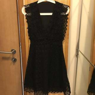 Sandro style lace dress with transparent details