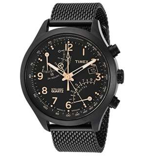 Timex Timex Men's TW2R55000 Intelligent Quartz Fly-Back Chronograph Black Stainless Steel Mesh Bracelet Watch