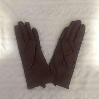 Brown Leather Gloves Small