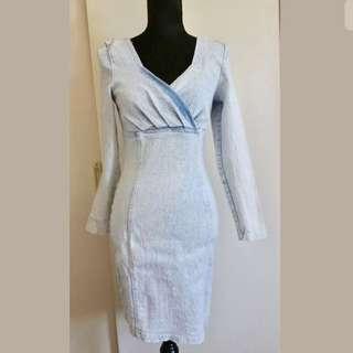 Wash light blue denim sz 10 women dress long sleeve party wedding bodycon race
