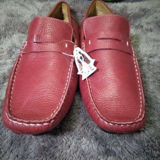 Authentic Hush Puppies Red Leather Loafers