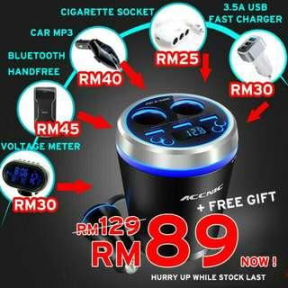 Multi Function Car Cup FM Transmitter Mp3 Bluetooth 3xUSB Fast Charging 2x Cigarette Lighter Handfree