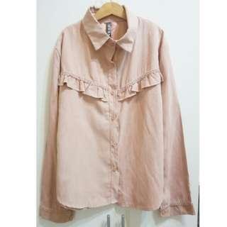 【免運】全新 荷葉造型蜜桃絨襯衫